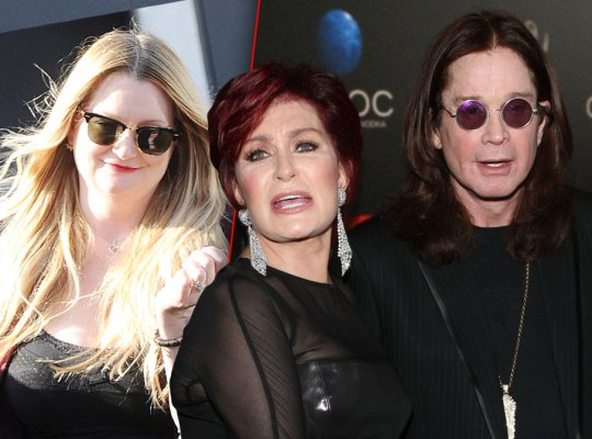 Left Photo: Hairstylist Michelle Pugh Wearing Black Tank and Sunglasses, Right Photo: Distressed Sharon Osbourne With Husband Ozzy Osbourne
