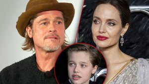 Brad Pitt Wearing Camel Color Hat Dark Blazer, Angelina Jolie Wearing Siver and Gold dress, Inset Shiloh Joli-Pitt
