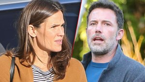 Jennifer Garner Wearng Yellow Tan Sweater With Striped Shirt, Ben AFfleck Wearing Gray Blazer And Blue Shirt