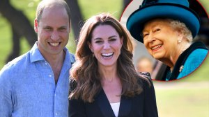Smiling Prince William and Duchess Catherine (Kate Middleton), Inset Queen Elizabeth II