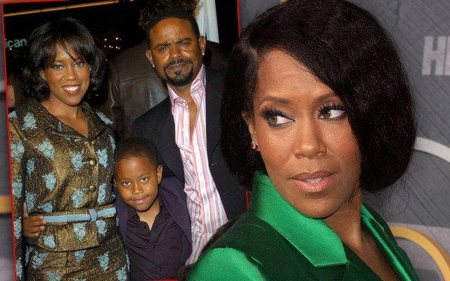 Inset of Regina King with hausband at the time Ian Alexander Desdune and Son Ian,Jr. Regina King Looking Left Over Shoulder Wearing Green Satin Blazer