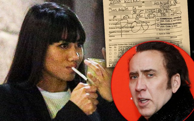 Erika Koike Smoking Cigarette, inset Court Citation, Inset Nicolas Cage