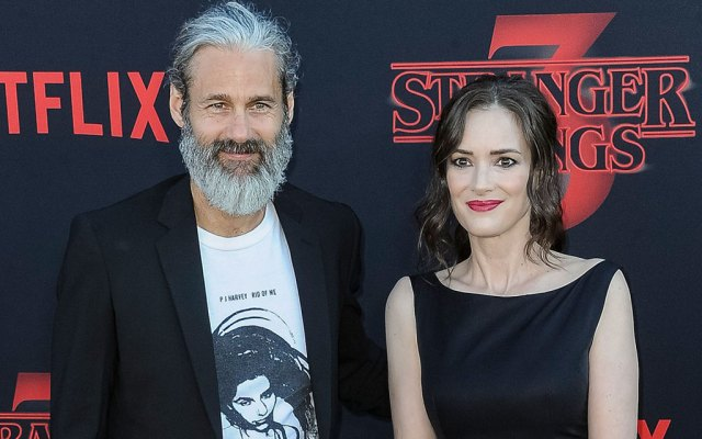 Scott Mackinlay Hahn and Winona Ryder attend the 'Stranger Things' Season 3 World Premiere at Santa Monica High School Barnum Hall in Santa Monica, California,