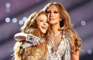 Shakira and Jennifer Lopez perform during halftime of the National Football League's Super Bowl LIV at Hard Rock Stadium in Miami Gardens, Florida