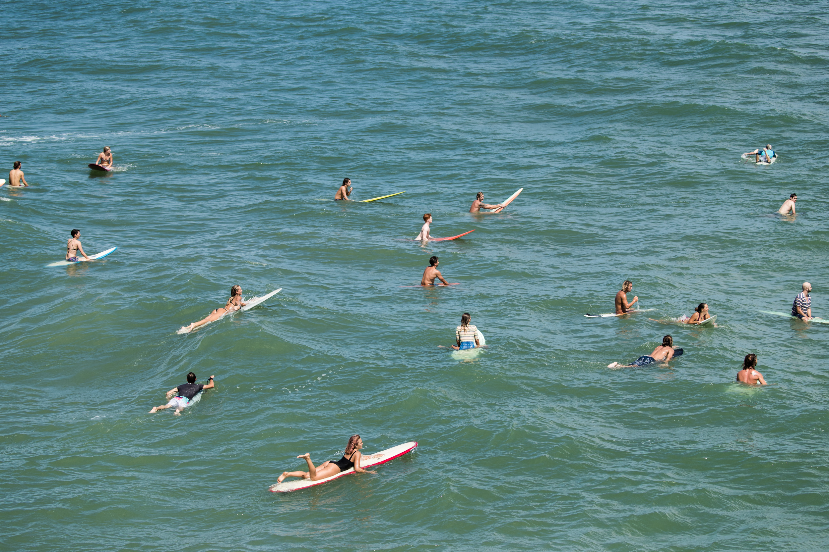 Green Sunshine surf block print Longboard surfer on wave