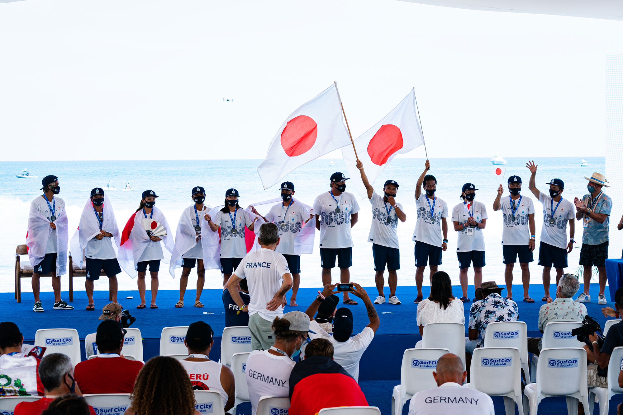 Team Japan during the ISA World Surfing Games Closing Ceremony